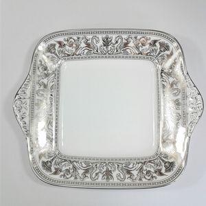 Wedgwood Platinum Florentine Dragons Cake Plate